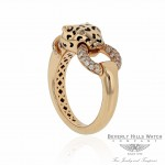 Naira & C 18K Rose gold Panther Enamel Diamond Neck and mouth Ring CCMI0274/13/ring-R 2R6ZH8 - Beverly Hills Jewelry Store