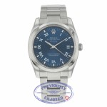 Rolex Air 34mm King Stainless Steel Roman numerals Oyster Bracelet Smooth Bezel Blue Dial 114200 49H84A - Beverly Hills Watch Company