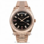 Rolex Day-Date II President 41MM 18k Rose Gold Fluted Bezel 218235 - Beverly Hills Watch Company Watch Store