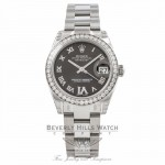 Rolex Datejust 31MM Stainless Steel Diamond Bezel Grey Diamond Roman Numeral Six 178384 - Beverly Hills Watch Company Watch Store