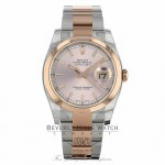 Rolex Datejust 36mm Stainless Steel and Rose Gold Oyster Bracelet Diamond Domed Bezel 116201 HD6A57 - Beverly Hills Watch Company