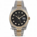 Rolex DateJust 18K Yellow Gold Stainless Steel Fluted Bezel Black Diamond Dial 116233 877QVM - Beverly Hills Watch Company Watch Store