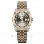 Rolex Datejust 36mm Stainless Steel and Rose Gold Rhodium Dial Rose Roman Numerals 116201 QPW2RQ - Beverly Hills Watch Company