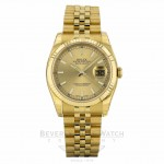 Rolex Datejust 36mm Fluted Bezel Champagne Dial 18k Yellow Gold Jubilee Bracelet 116238 YL2FNK - Beverly Hills Watch Company