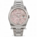 Rolex Datejust 36MM 18k White Gold Diamond Bezel Pink Floral Dial 116244 HC5BFD - Beverly Hills Watch Company Watch Store