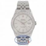 Rolex Datejust 36MM Stainless Steel Custom Diamond Set 18k White Gold Bezel Silver Dial 116244 VLEERR - Beverly Hills Watch Company Watch Store
