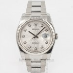 Rolex Datejust 36mm Stainless Steel Oyster Bracelet White Gold Fluted Bezel Silver Jubilee Diamond Dial Watch 116234 Beverly Hills Watch Company Watches