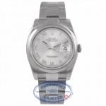 Rolex Datejust Stainless Steel 36mm Oyster Bracelet Domed Bezel Rhodium Roman Dial Watch 116200 WR7KP6  - Beverly Hills Watch Company Watch Store