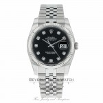 Rolex Datejust 36mm Stainless Steel White Gold Fluted Bezel Black Diamond Dial 116234 YEXHPV - Beverly Hills Watch Company