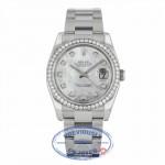 Rolex Datejust 36mm Stainless Steel Oyster Bracelet Mother of Pearl Diamond Dial Diamond Bezel 116244 - Beverly Hills Watch