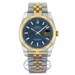 Rolex Datejust Automatic 36mm Stainless Steel 18k Yellow Gold Blue Dial Index Hour Markers Fluted Bezel Jubilee Bracelet 116233 99KA7J - Beverly Hills Watch
