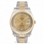 Rolex Datejust II Champagne Diamond Dial Stainless Steel Yellow Gold Bracelet 116333 PLY2CJ - Beverly Hills Watch Company