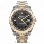 Rolex Datejust II 41mm Stainless Steel and Yellow Gold Oyster Bracelet Fluted Bezel Slate Roman Dial Watch 116333 QEQJNP Beverly Hills Watch Company Watch Store