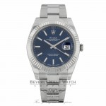 Rolex Datejust II 41mm 18k White Gold Blue Index Hour Markers Stainless Steel Oyster Bracelet 126334 CNK9KQ - Beverly Hills Watch