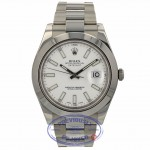 Rolex DateJust II Stainless Steel 41mm White Stick Dial 116300 662X05 - Beverly Hills Wath Company