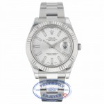 Rolex DayJust II 18k White Gold Fluted Bezel Oyster Perpetual Stainless Steel Silver Dial 116334 K8DX6U - Beverly Hills Watch Company