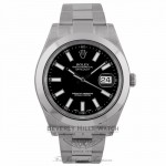 Rolex DateJust II Stainless Steel Black Dial Oyster Perpetual 41mm Polished Smooth Bezel Index Markers 116300 VNHW0C - Beverly Hills Watch Company