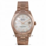 Rolex Datejust 31mm 18k Rose Gold President Bracelet Fluted Bezel White Mother of Pearl Diamond Dial 178275 12HE1H - Beverly Hills Watch Company Watch Store