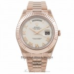 Rolex Day Date II 41mm Rose Gold President Bracelet Fluted Bezel Ivory Roman Dial 218235 - Beverly Hills Watch Company Watch Store