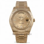 Rolex Day Date II 41mm 18K Yellow Gold Champagne Diamond Dial Fluted Bezel 218238 UQKH75 - Beverly Hills Watch Company Watch Store
