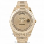 Rolex Day-Date II President 41MM 18K Yellow Gold Fluted Bezel Champagne Dial 218238 YQ2W5F - Beverly Hills Watch Company Watch Store