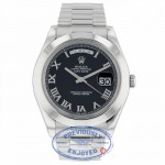 Rolex Day Date II President Platinum Black Roman dial 218206 U55N46 - Beverly Hills Watch Company