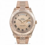 Rolex Day Date II 41mm Rose Gold President Pink Champagne Concentric Dial Fluted Bezel Watch 218235 - Beverly Hills Watch Company Watch Store