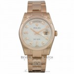 Rolex Day-Date President 36mm Everose Gold White Mother-of-Pearl Oxford Motif 118235 C5YWU2 - Beverly Hills Watch Company