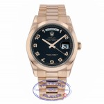 Rolex Day Date 36mm President Bracelet 18K Rose Gold Bracelet Black Arabic Numeral Dial 118205 3D5A46 - Beverly Hills Watch Company