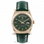 Rolex Day-Date President 36MM 18K Yellow Gold Green Dial Alligator Strap 118138 L6NWJW - Beverly Hills Watch Store