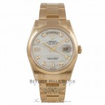 Rolex Day-Date President 36mm 18k Yellow Gold Fluted Bezel White Mother of Pearl Diamond Dial 118208 8NHKJ6 - Beverly Hills Watch Company Watch Store