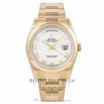 Rolex Day-Date President 36MM 18k Yellow Gold Domed Bezel White Dial Roman Numerals 118208 K610P4 - Beverly Hills Watch Company Watch Store