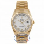 Rolex Day Date President 36mm Yellow Gold White Roman Dial 118238 R2766Y - Beverly Hills Watch Company Watch Store