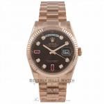 Rolex Day-Date 36mm Everose Chocolate Ruby & Diamond Fluted Bezel President Bracelet 118235 CM11QR - Beverly Hills Watch Company