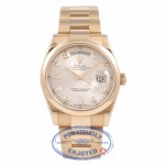 Rolex Day-Date Rose Gold Champagne Diamond Dial 36mm Smooth Bezel Watch 118205 Beverly Hills Watch Company Watch Store