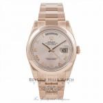 Rolex Day-Date President 36MM 18k Rose Gold Domed Bezel Pink Roman118205 GEWE1N - Beverly Hills Watch Company Watch Store
