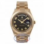 Rolex Day-Date II President 18K Yellow Gold 41MM Fluted Bezel Wave Dial 218238 666J6R - Beverly Hills Watch Company Watch Store