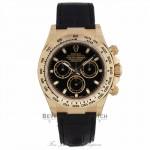 Rolex Daytona 40mm 18K Yellow Gold Black Alligator Strap Black Dial 116518 X25ZWE - Beverly Hills Watch Company