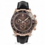 Rolex Daytona 18K Rose Gold Tachymeter Engraved Black Cerachrom Monobloc Bezel 116515 PWUC5A - Beverly Hills Watch Company Watch Store