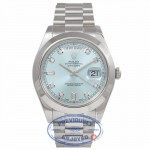 Rolex Day-Date II President 41MM Platinum Ice Blue Diamond Dial President Bracelet 218206 65TWZV