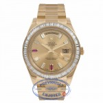Rolex Day-Date II President 41MM Yellow Gold Diamond Bezel Champagne Dial 218398 WLHMAL - Beverly hills Watch Store