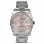 Rolex Datejust 36MM Stainless Steel Domed Bezel Pink Floral Dial 116200 276ZWU - Beverly Hills Watch Company Watch Store