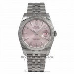 Rolex DateJust Pink Wave Diamond Dial 18k White Gold Fluted Bezel 116234 3WL5UQ - Beverly Hills Watch Store