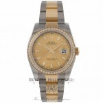 Rolex DateJust 36mm Steel and Gold Diamond Bezel and Champage Dial 116243 MIJZMU