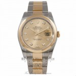 Rolex Datejust 36MM 18k Yellow Gold Stainless Steel Domed Bezel Champagne Diamond Dial 116203 CQP111 - Beverly Hills Watch Company Watch Store