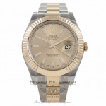 Rolex Datejust II 41mm Stainless Steel and Yellow Gold Champagne Index Markers Dial 116333 EL5PXW - Beverly Hills Watch Company Watch Store