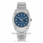 Rolex Oyster Perpetual Domed Bezel 34mm Blue Dial 114200 017W7A - Beverly Hills Watch