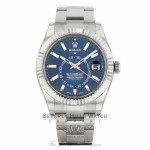 Rolex Sky-Dweller Stainless Steel 18k White Gold Fluted Bezel 42mm Blue Dial 326934 VZQ4JC - Beverly Hills Watch