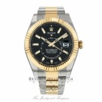 Rolex Sky-Dweller Oyster Perpetual Black Dial 42mm Stainless Steel Yellow Gold 326933 M4LJY6 - Beverly Hills Watch
