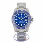 Rolex Submariner 18K White Gold Oyster Bracelet Blue Dial Blue Ceramic Bezel 40mm Dive 116619 LLZ1PE - Beverly Hills Watch